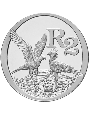 2 Rand, South Africa, 2006, Silver, Reverse, Proof - Secretary Bird