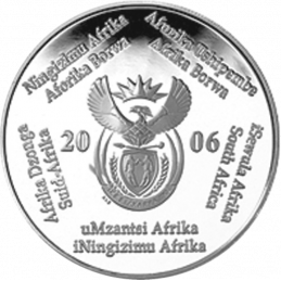 2 Rand, South Africa, 2006, Silver, Obverse, Proof - World Cup Soccer
