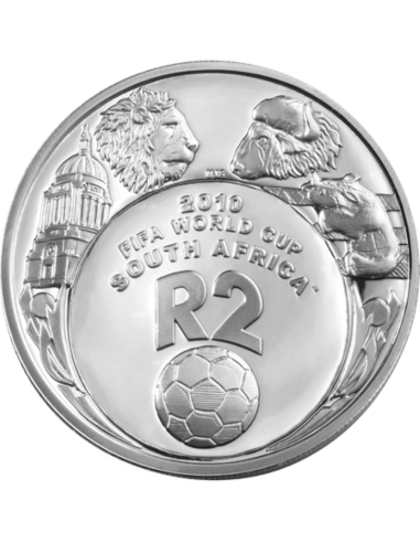 2 Rand, South Africa, 2007, Silver, Reverse, Proof - World Cup Soccer