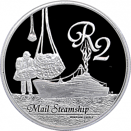 2 Rand, South Africa, 2010, Silver, reverse, Proof - Mail Steamship