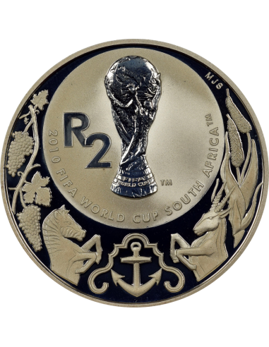 2 Rand, South Africa, 2010, Silver, reverse, Proof - World Cup Soccer