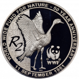 2 Rand, South Africa, 2011, Silver, Reverse, Proof - WWF Blue Crane