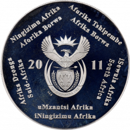 2 Rand, South Africa, 2011, Silver, Obverse, Proof - WWF Blue Crane