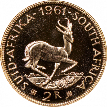 2 Rand, South Africa, 1961, Reverse, Gold
