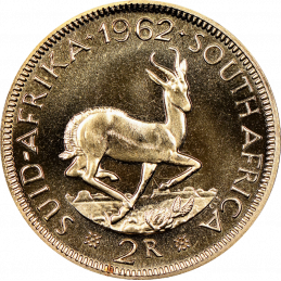 2 Rand, South Africa, 1962, Reverse, Gold