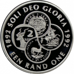 R1, South Africa, Protea 1992, Silver, Proof