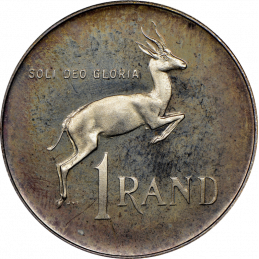 One Rand, South Africa, 1977, Reverse, Nickel