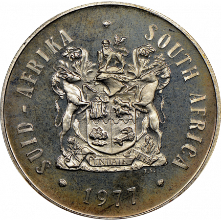 One Rand, South Africa, 1977, Obverse, Nickel