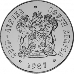 One Rand, South Africa, 1987, Obverse, Nickel