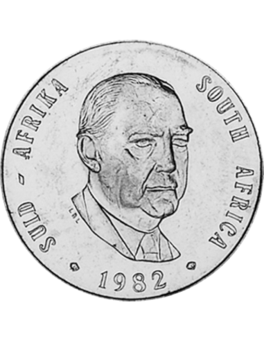 One Rand, South Africa, 1982, Obverse, Nickel