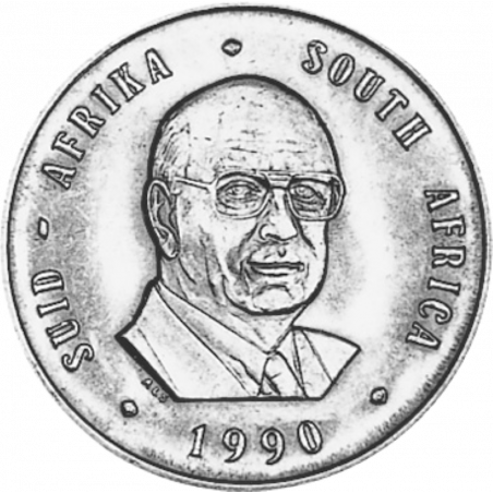 One Rand, South Africa, 1990, Obverse, Nickel - President Botha