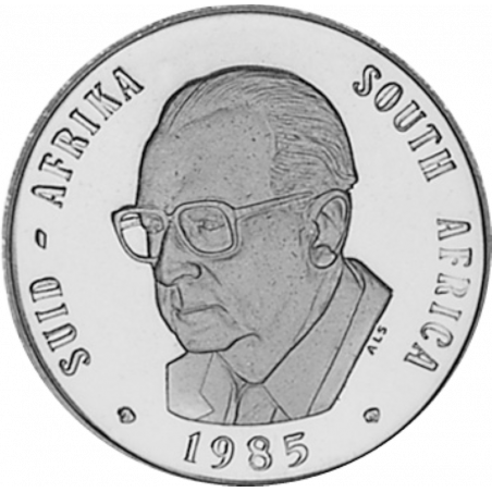 One Rand, South Africa, 1985, Obverse, Nickel