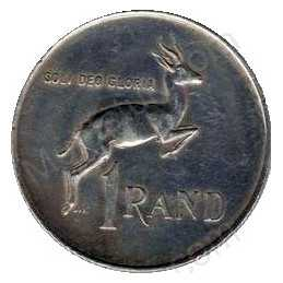 One Rand(Afrikaans), South Africa, 1966, Silver, Reverse - Tagged Ear