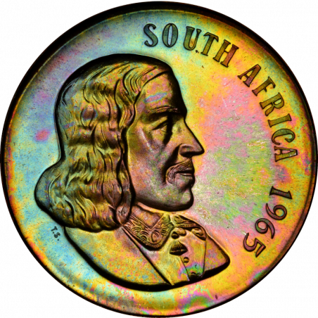 One Rand, South Africa, 1965,  Obverse, English, Silver