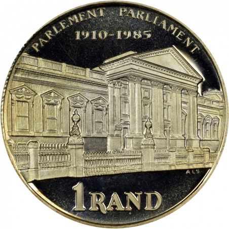 One Rand, South Africa, 1985, Parliament, Reverse, Silver