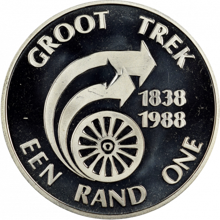 One Rand, South Africa, 1988, Reverse, Silver - Groot Trek