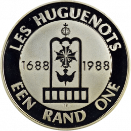 One Rand, South Africa, 1988, reverse, Silver - Huguenots