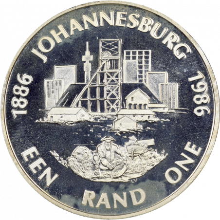 One Rand, South Africa, 1986, Silver, Reverse - Johannesburg