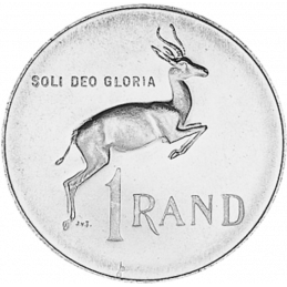 One Rand, South Africa, 1968, Silver, Reverse