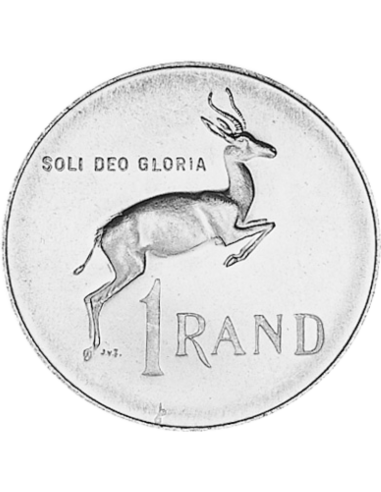 One Rand, South Africa, 1971, Silver, Reverse
