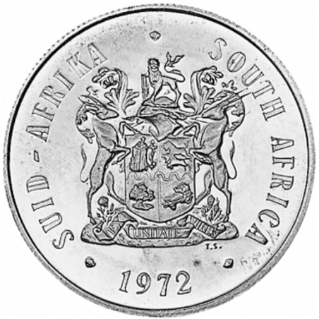 One Rand, South Africa, 1972, Obverse, Silver