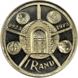One Rand, South Africa, 1974, Silver, Reverse - Anniversary of Pretoria Mint