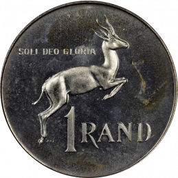 One Rand, South Africa, 1975, Reverse, Silver