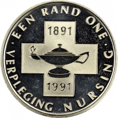 One Rand, South Africa, 1991, Reverse, Silver - Nursing