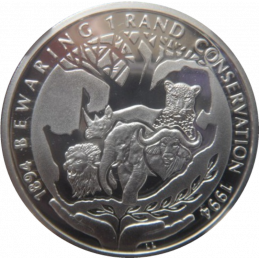 R1, South Africa, Protea 1994, Reverse, Silver - Conservation