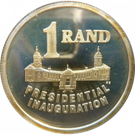 R1, South Africa, 1994, Silver Proof, Reverse, Presidential Inauguration