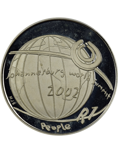 R1, South Africa, Protea 2002, Obverse, Silver - Johannesburg World Summit