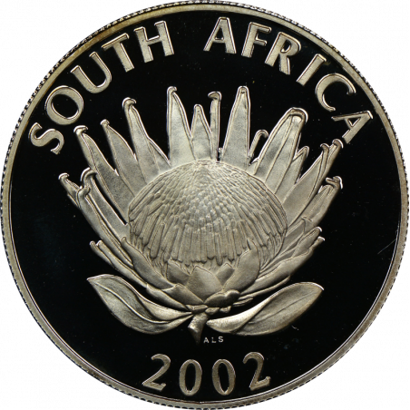 R1, South Africa, Protea 2002, Obverse, Silver - Soccer