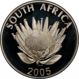 R1, South Africa, Protea 2005, Obverse, Silver - Albert Luthuli
