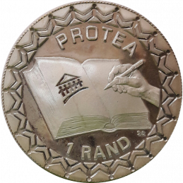 R1, South Africa, Protea 2000, Reverse, Silver - SA Constitution