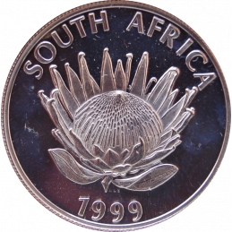 R1, South Africa, Protea 1999, Obverse, Silver - Gold Mining