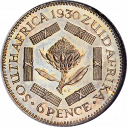 SixPence, South Africa, 1928, Silver, Reverse