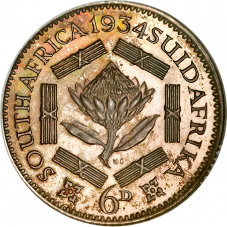 SixPence, South Africa, 1931, Silver, Reverse