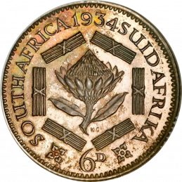 SixPence, South Africa, 1935, Silver, Reverse