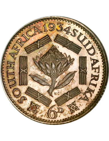 SixPence, South Africa, 1936, Silver, Reverse