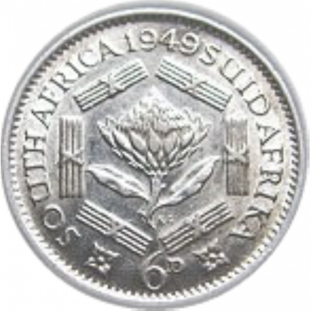SixPence, South Africa, 1939, Silver, Reverse