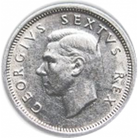 SixPence, South Africa, 1946, Silver, Obverse