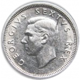 SixPence, South Africa, 1949, Silver, obverse