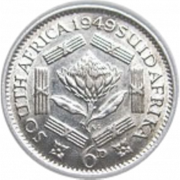 SixPence, South Africa, 1949, Silver, reverse
