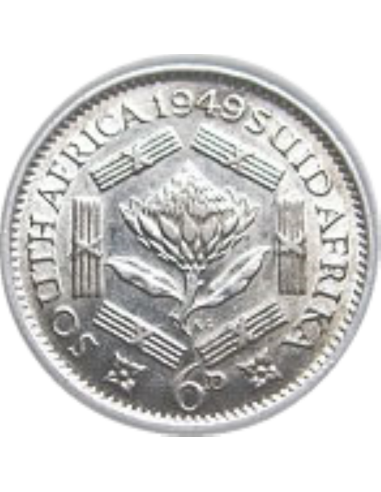 SixPence, South Africa, 1951, reverse, Silver