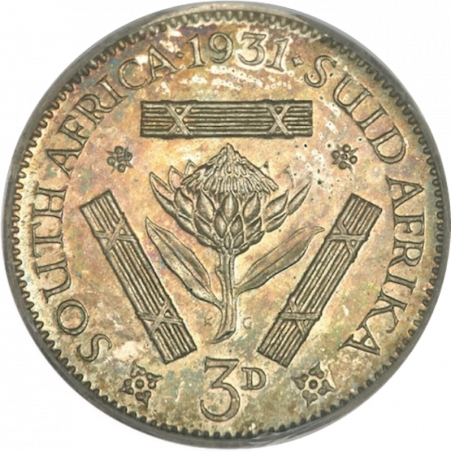 Threepence, South Africa, 1931, Silver, Reverse