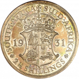 Two and Half Shillings, South Africa, 1931, reverse, Silver