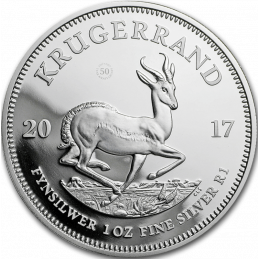 1oz Krugerrand, South Africa, 2017, Silver Reverse