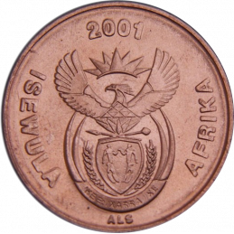 One Cent, South Africa, 2001, Copper plated Steel Obverse