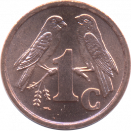 One Cent, South Africa, 1999, Copper plated Steel Reverse