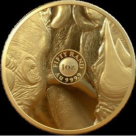1oz Big Five Rhino, 2020, Gold Obverse